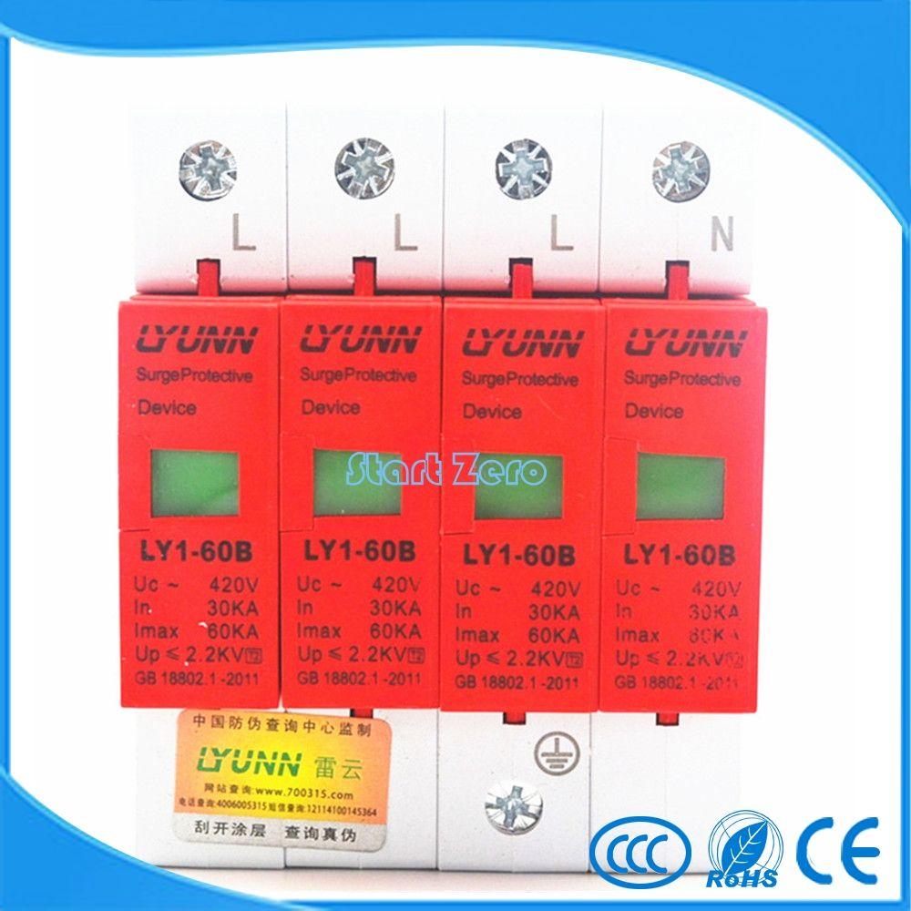 high quality 4P SPD 420V 30KA~60KA House Surge Protector Protective Low-voltage Arrester Device 3P+N