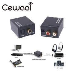 Cewaal Digital Optical Toslink SPDIF Coax To Analog RCA Audio Converter Adapter Black