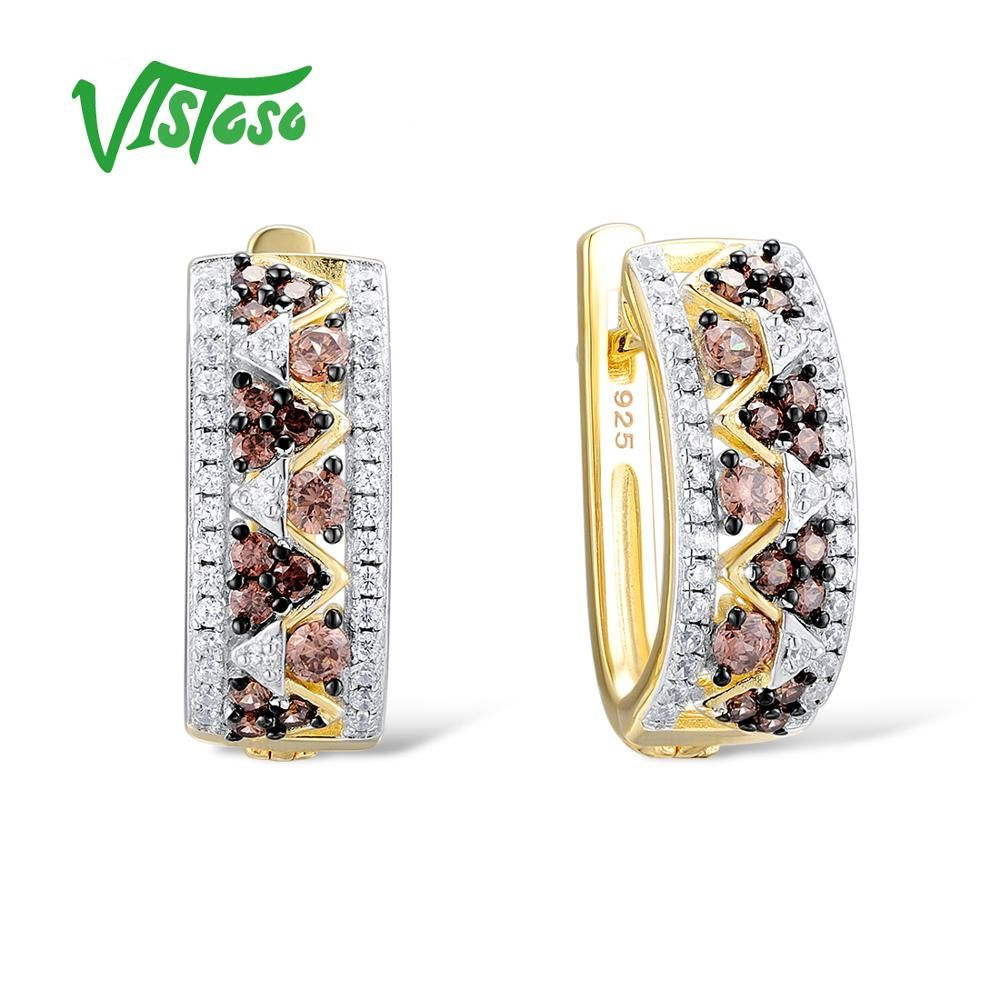 VISTOSO 925 Sterling Silver Round Stud Earrings For Women Round Chocolate 925 Sterling Silver For Women Fine Jewelry Party 2018
