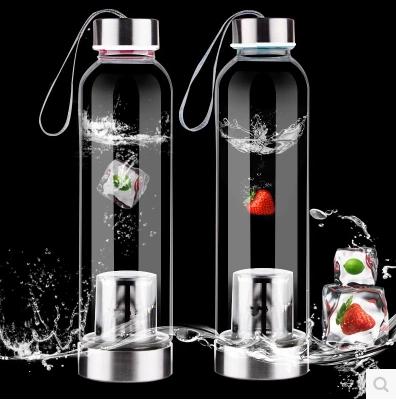 Livraison gratuite 550 ml bouteille d'eau en verre à haute teneur en borosilicate avec infuseur en acier inoxydable avec sacs de protection et boîte individuelle