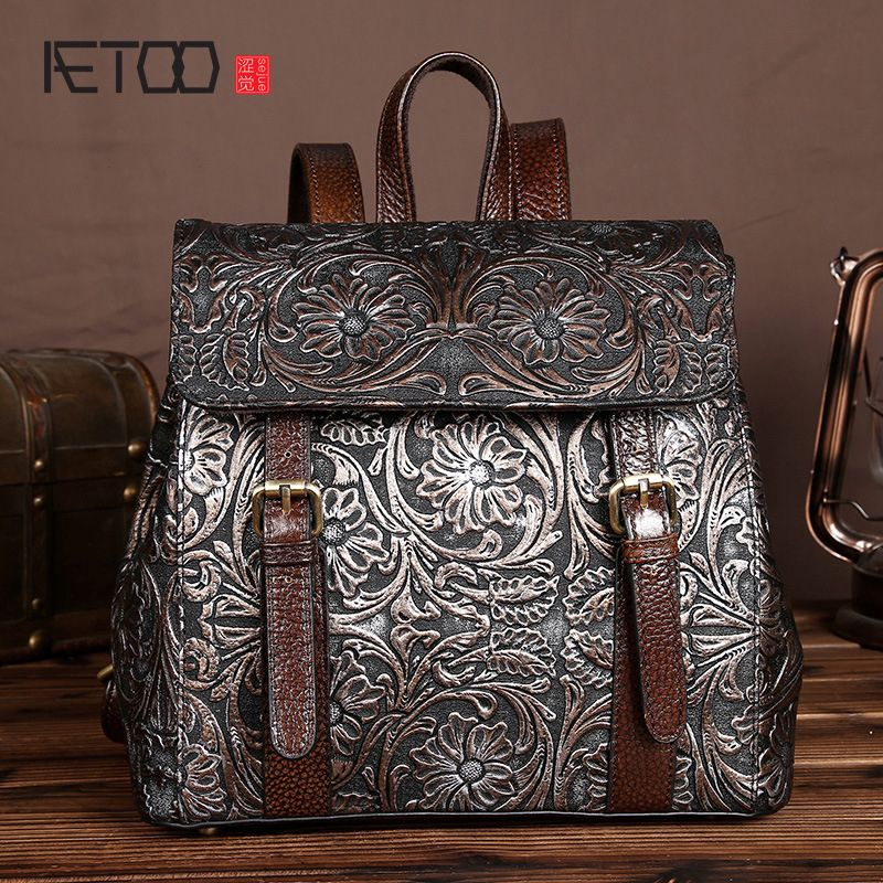 AETOO Handmade wiping Korean version female bag shoulder bag 100% genuine leather casual backpack trend school wind backpack