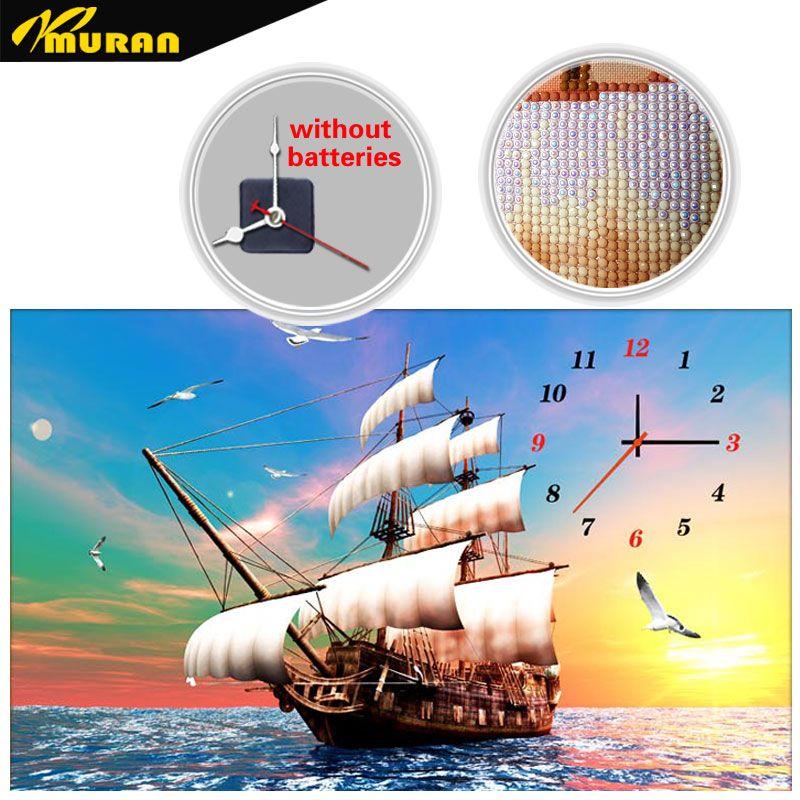 Broderie diamant MURAN, forme spéciale, chine, voile lisse, horloge de bateau, 5D, peinture au diamant, point de croix, 3D, mosaïque de diamant