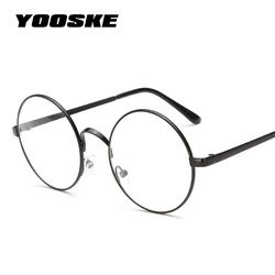 Yooske Wanita Bulat Bingkai Kacamata Kacamata dengan Jelas Lensa Pria Optical Glasses Frame Transparan Kacamata Harry Potter