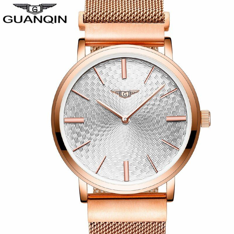 Relogio Masculino GUANQIN Watch Men Business Ultra Thin Wristwatch Men's Fashion Gold Stainless Steel Quartz Watch Montre Homme