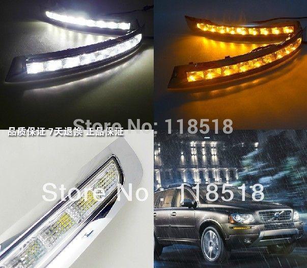 Eosuns LED дневного света DRL для Volvo XC90 2007-2013 ABS с желтым очередь Сингал Светодиодная лампа туман, переключатель беспроводной