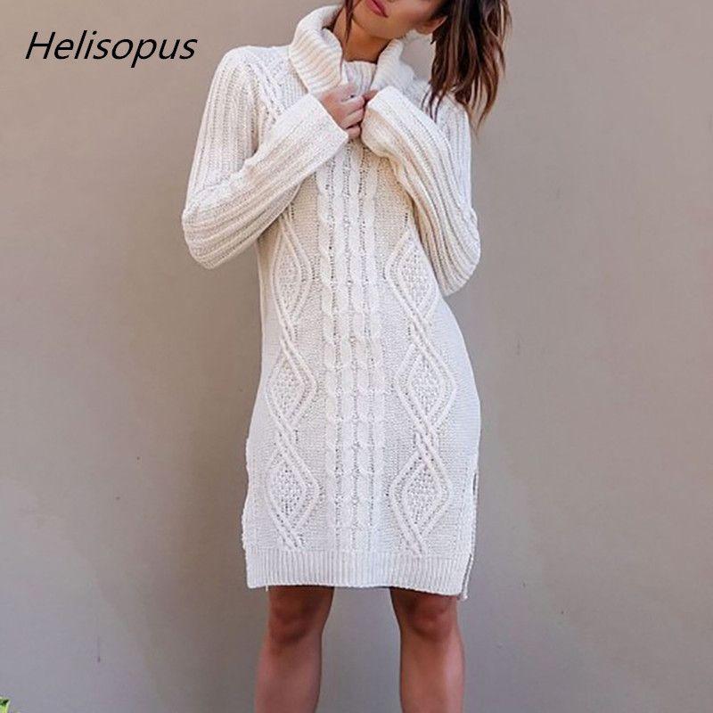 Helisopus Autumn Winter Women's Sweater Dress Warm Long Sweater Women Plus Size Female Pullover Knitted Sweater pull femme hiver