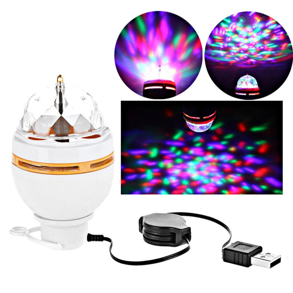 Bunte 3 Watt LED Disco DJ Party Musik Kristall Magische Kugel tragbare Bühne Licht Auto Rotierenden Lampe mit Usb-schnittstelle Heißer verkauf
