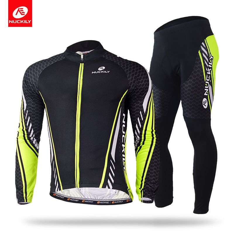 NUCKILY Winter Cycling Clothing Polyester Thermal Bike Jersey and Foam Pad Tights Suit For Men ME015MF015