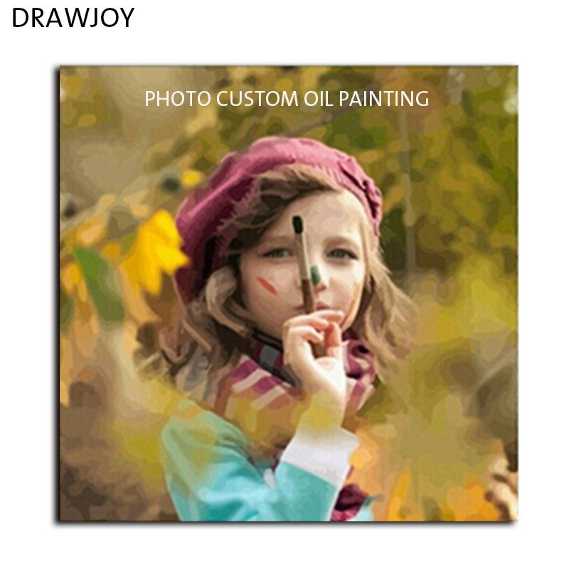DRAWJOY Photo Custom <font><b>Make</b></font> Your Own Digital Canvas Oil Painting Framless Picture Painting By Numbers Wall Art DIY Oil Painting