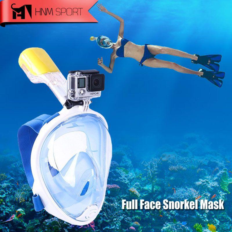 2017 New Scuba GoPro Camera Snorkel Mask <font><b>Underwater</b></font> Anti Fog Full Face Snorkeling Diving Mask with Anti-skid Ring Snorkel