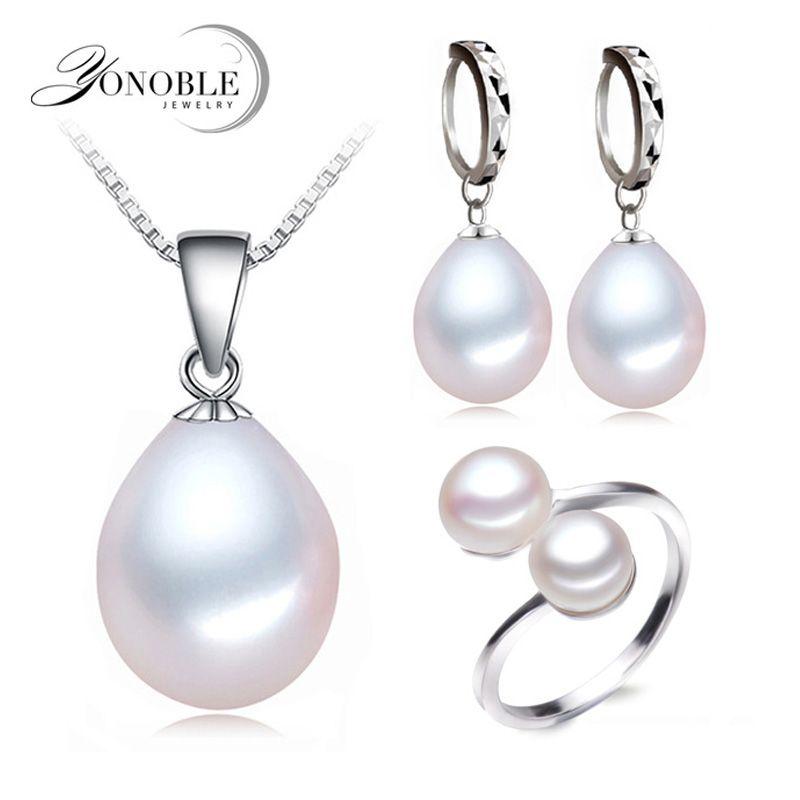 Joyería de agua dulce verdadera de la perla de las mujeres, Perla natural establece 925 plata esterlina joyería chica cumpleaños regalo de calidad superior