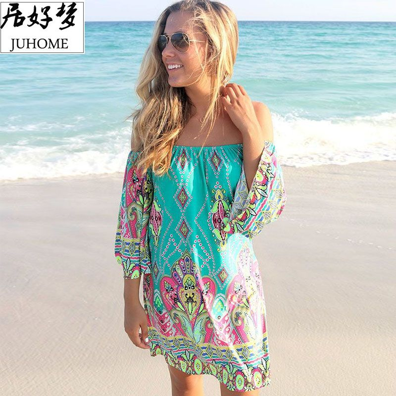 plus size women clothing 2018 Summer Sundress casual fashion skater <font><b>green</b></font> dress robe femme boho dress bohemian Tunic Beach tube