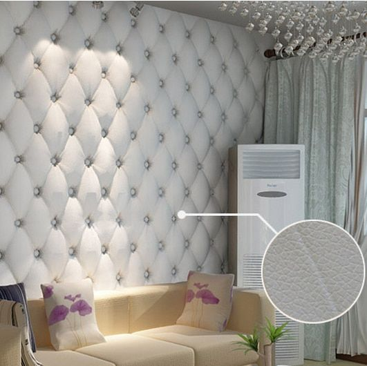 paper wallpaper faux leather soft bag 3d wallpaper PVC white bedside sofa tv background wall wallpaper papel de parede
