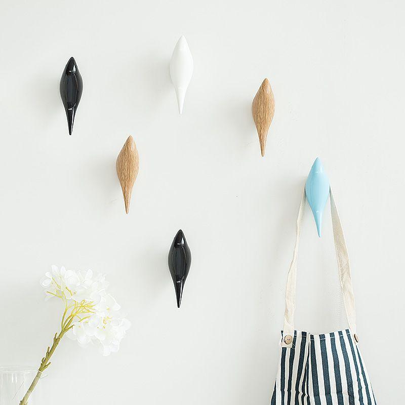 Creative mur crochets oiseau décoration Résine bois grain crochets chambre porte après animaux Crochets 3D manteau crochet simple paroi cintre L50