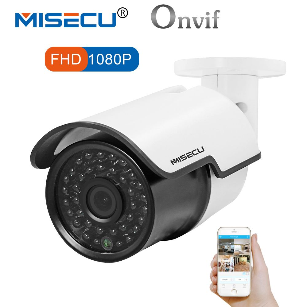 MISECU Full HD IP Camera 1080P Outdoor Security Camera 2MP Metal Bullet CCTV Camera IP POE 20fps ONVIF Waterproof P2P XMeye