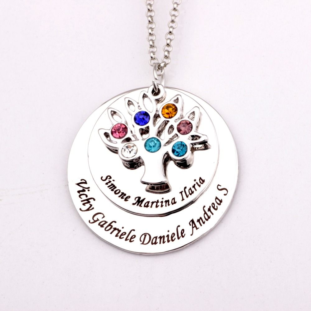 Personalized Family Tree Pendant Necklace with Birthstones 2018 New Arrival Birthstone Necklaces Custom Made Any Name YP2548