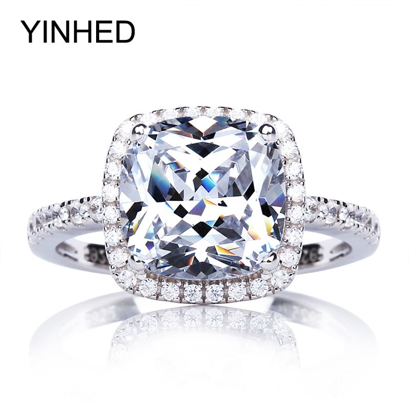 95% OFF !! YINHED Real Solid 925 Sterling Silver Engagement Ring 4 Carat Cubic Zirconia CZ Wedding Rings for Women Jewelry ZR274