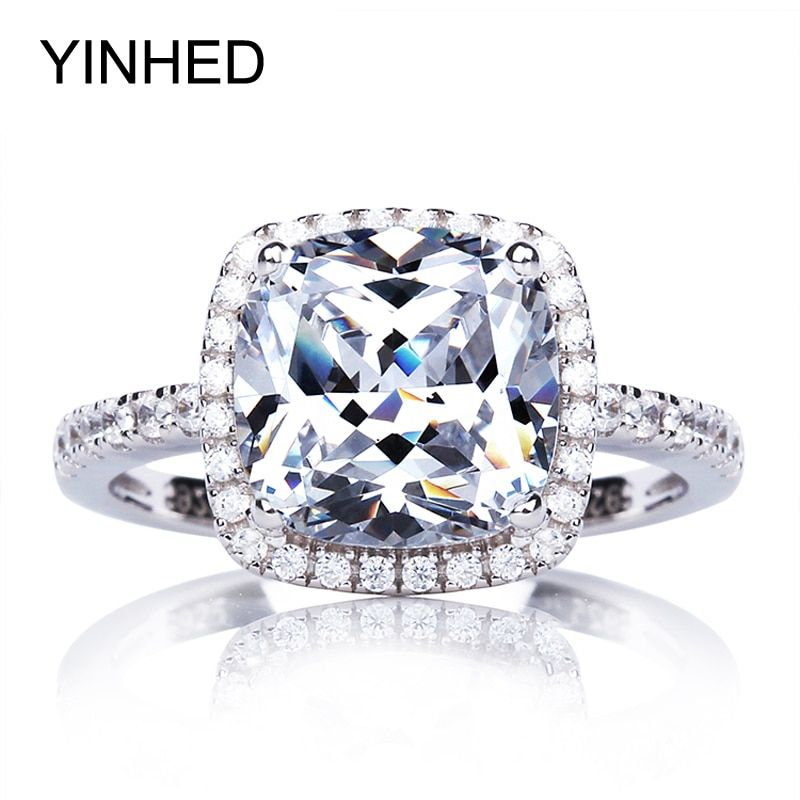 95% de réduction!! Bague de fiançailles en argent Sterling véritable 925 yinfairy 4 carats zircon cubique CZ bagues de mariage pour femmes bijoux ZR274