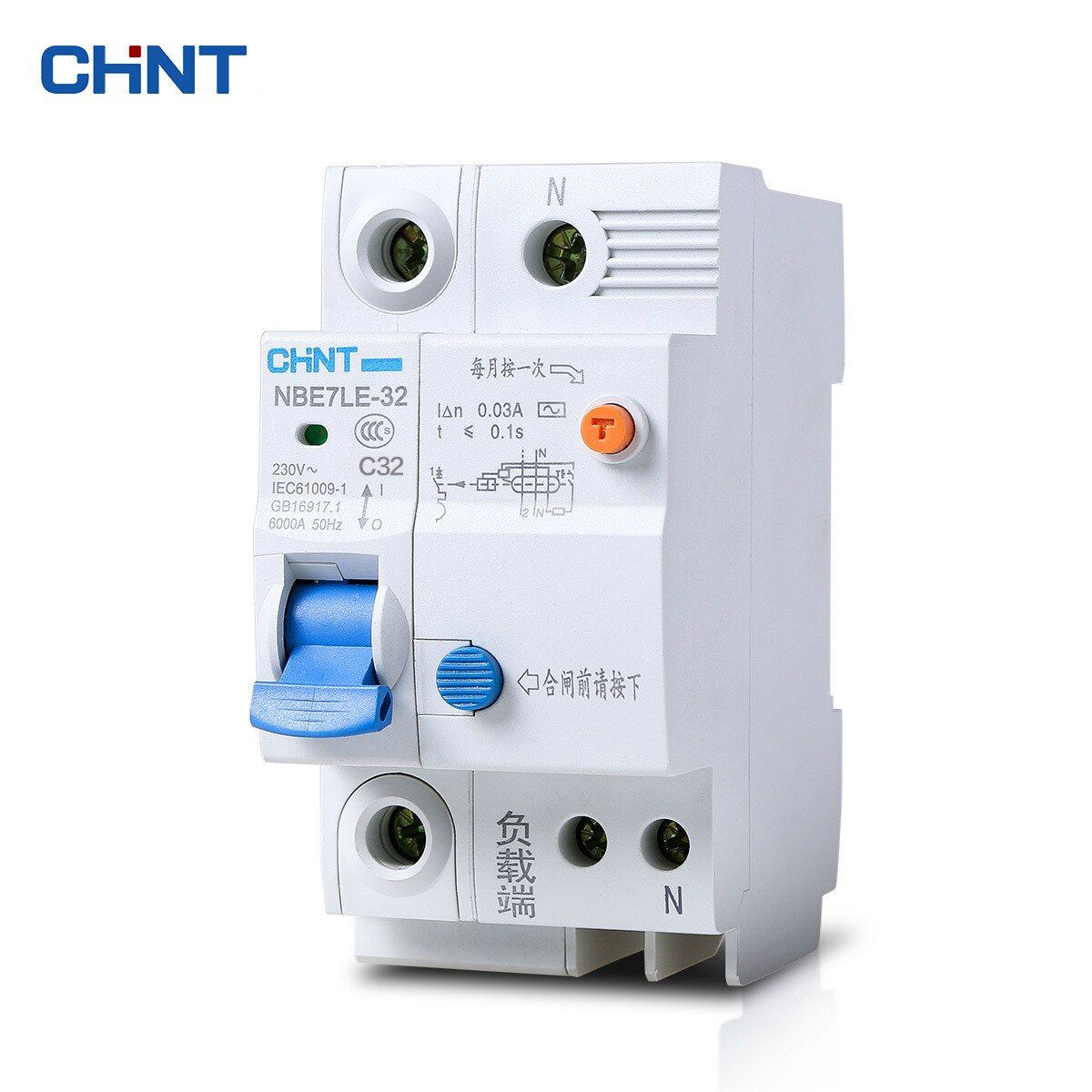 CHINT Small Air Switch Leakage Circuit Breaker NBE7LE 1P + N 32A Electric Shock Protection Switch