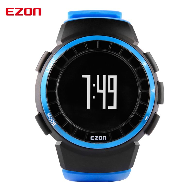 EZON T029 Men Sports Watch 5ATM Waterproof Multifunctional Outdoor Running Pedometer Calories Counter Digital Wristwatches