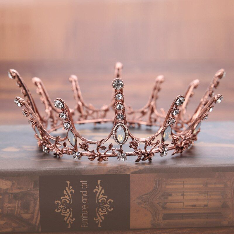 Vintage Baroque Round Crown Bridal Wedding Hair Accessories Crystal Rhinestone Big Hair Jewelry Wedding Pageant King Queen Tiara