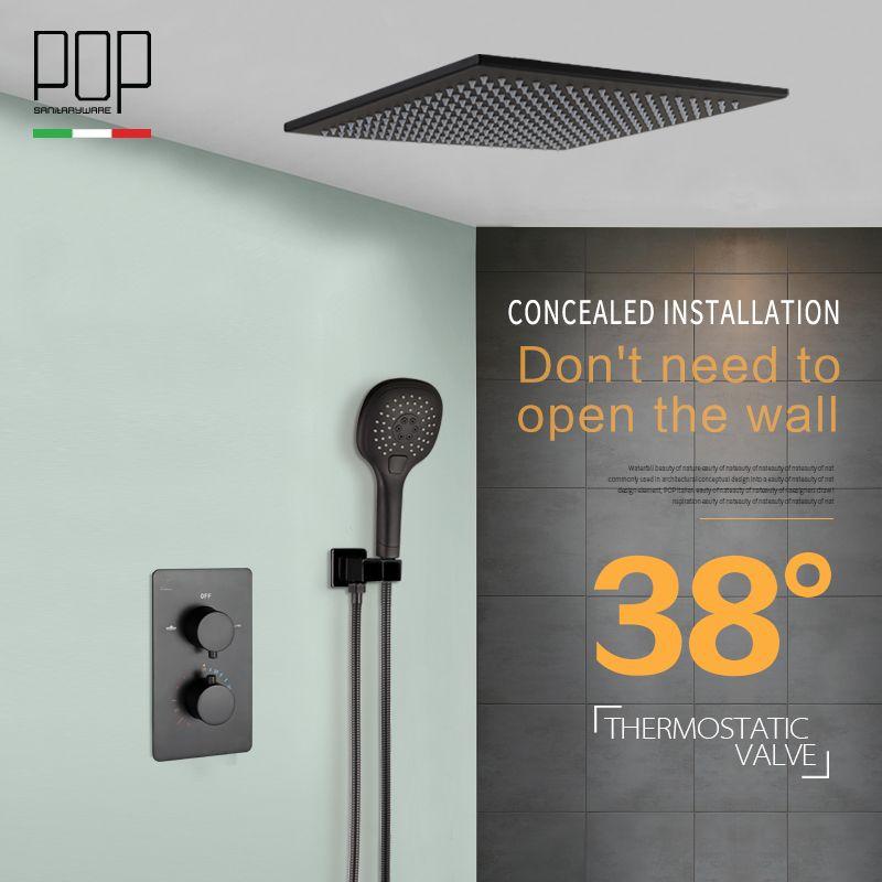 POP Bathroom Luxury Rain Mixer Shower Combo Set, Wall Mounted Matte Black Rainfall Shower Head System Bath & Shower Faucet