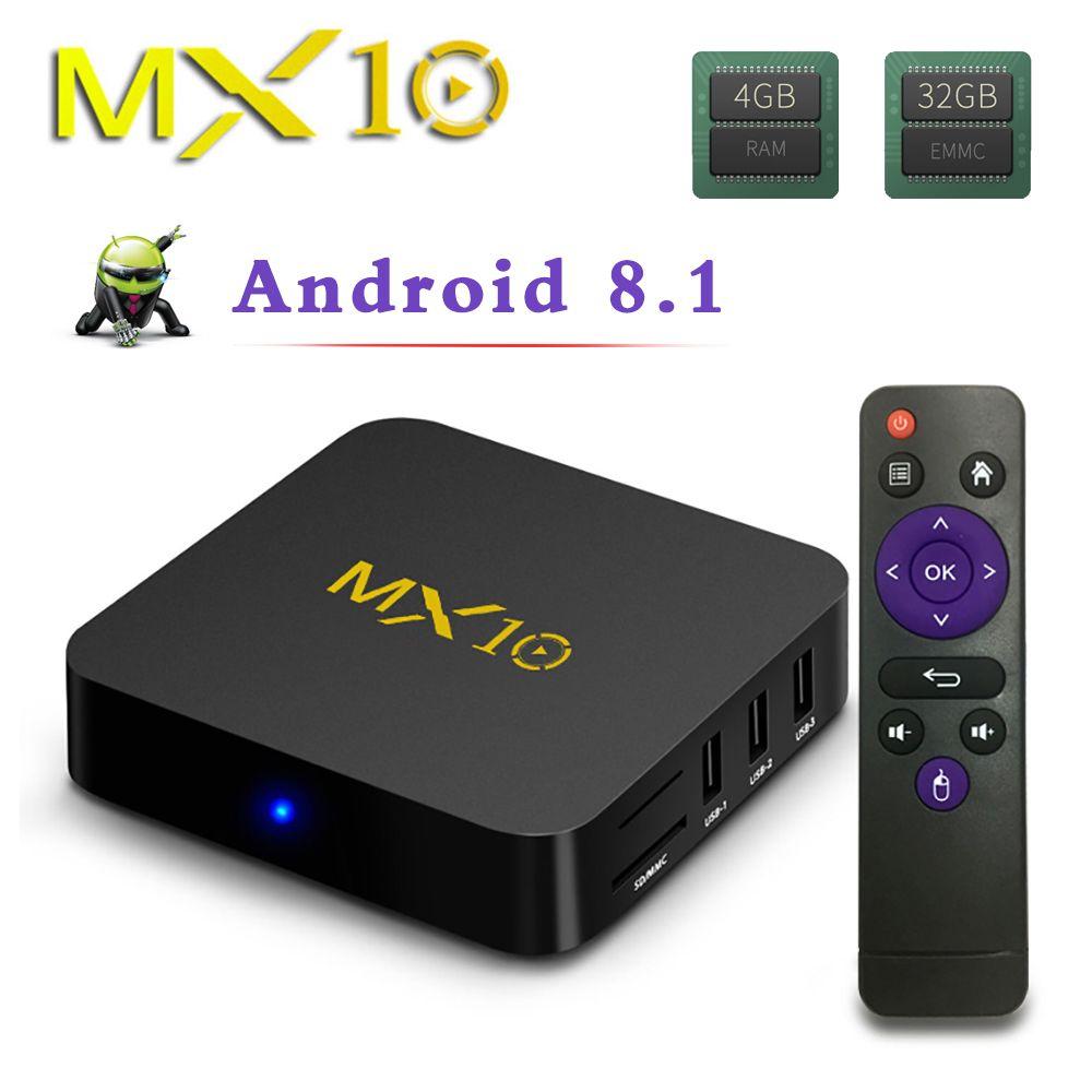 MX10 4GB RAM 32GB ROM Best Android 8.1 TV BOX 2018 RK3328 Quad Core 4K HDR 2.4GHz WIFI USB 3.0 Smart Set Top Box PK X96 Mini 7.1