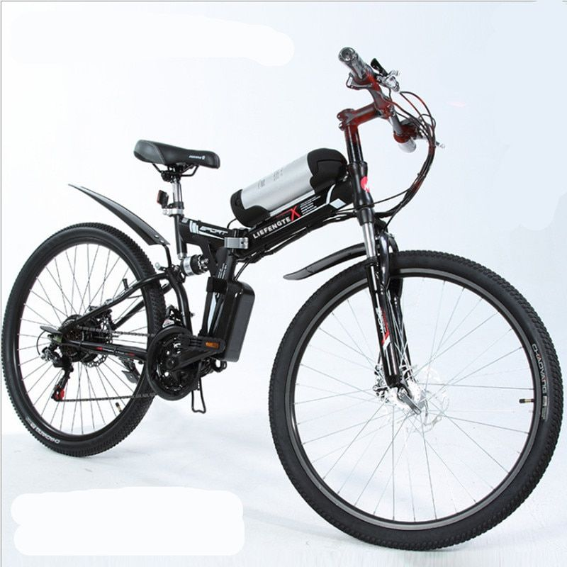 26 inch lithium battery electric bicycle electric folding electric mountain bike 48V 500W engine, E-bike male and female student