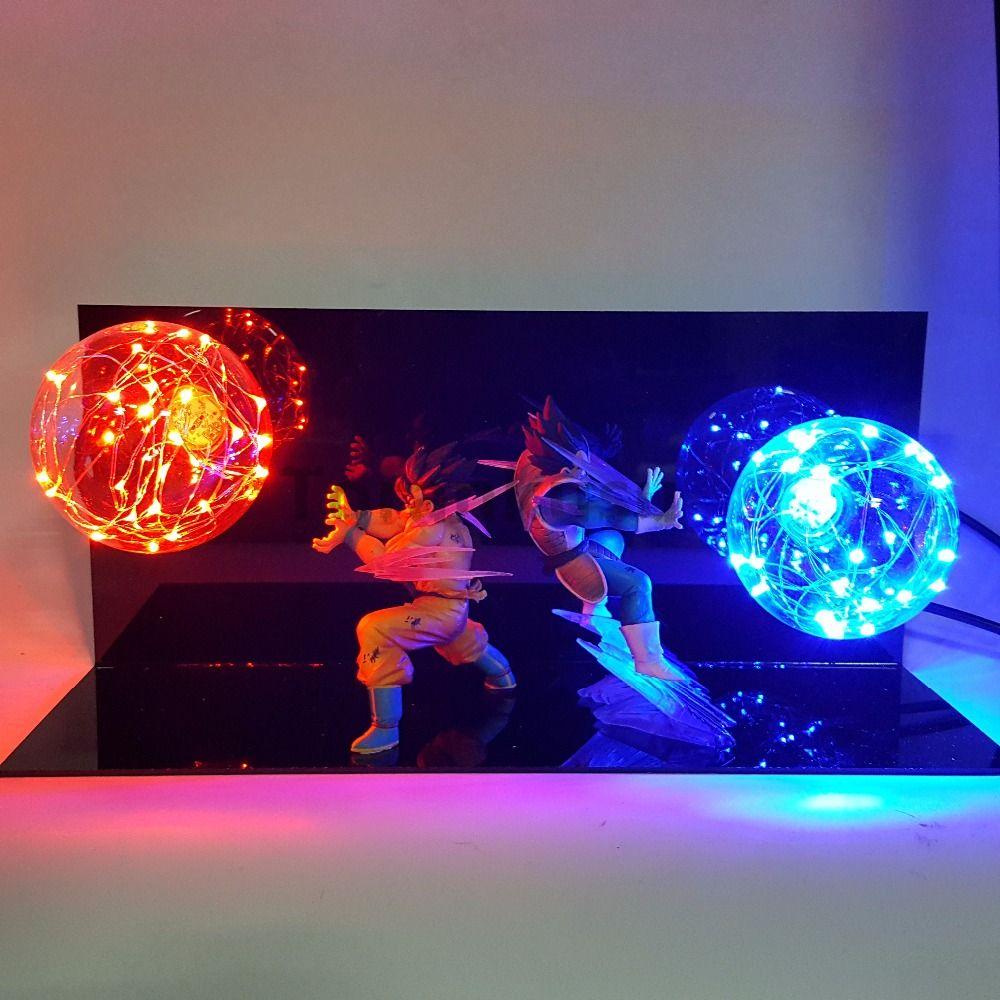 Dragon Ball Z Vegeta Son Goku Super Saiyan Fighting Together Led Lighting Anime Dragon Ball Z Vegeta Goku Model Toy DBZ