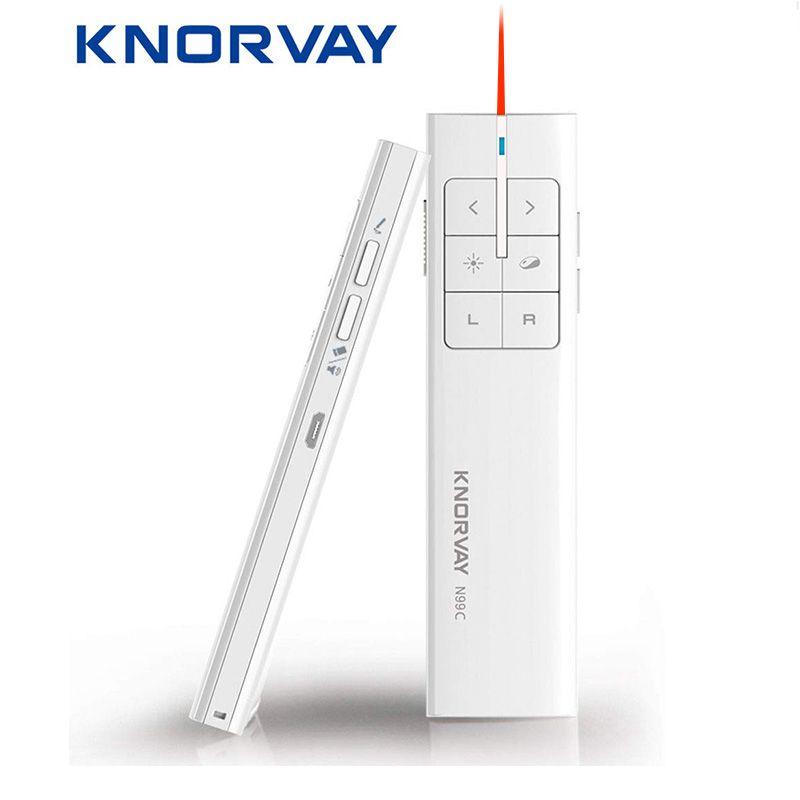 Knorvay N99 nouveau présentateur de souris d'air sans fil Rechargeable, 2.4 GHz PPT présentation télécommande sans fil Clicker