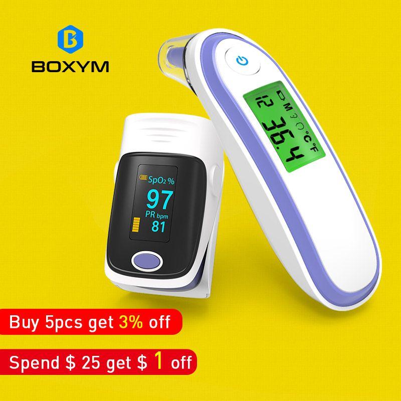 BOXYM Medical Finger Pulse Oximeter and Infrared Ear&Forehead Thermometer SPO2 PR oximetro de dedo Household Health