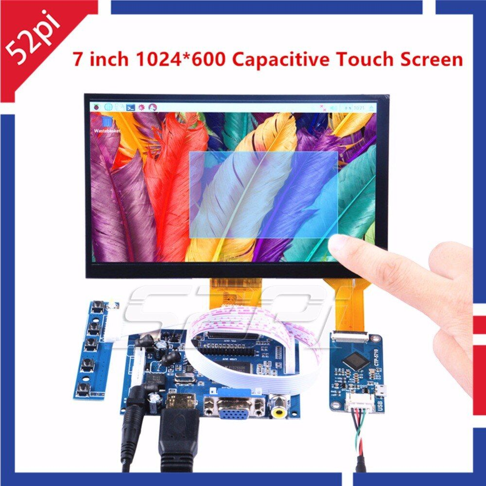 52Pi 7 zoll 1024*600 Freien Treiber Display Kapazitiven Touchscreen-monitor für Raspberry Pi/Windows/Beaglebone schwarzen Stecker und Spielen
