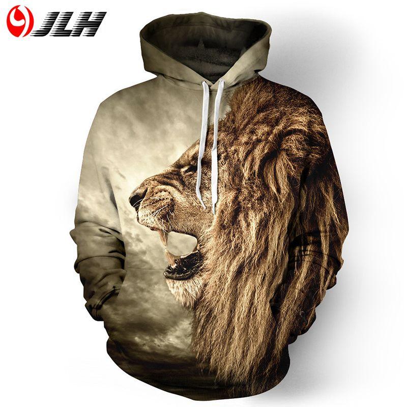 Jlh Толстовка 3D Толстовки Для мужчин кофты Для мужчин S 3D печати Лев/клоун/кошка/олень с капюшоном мужской толстовка панда уличная Костюмы