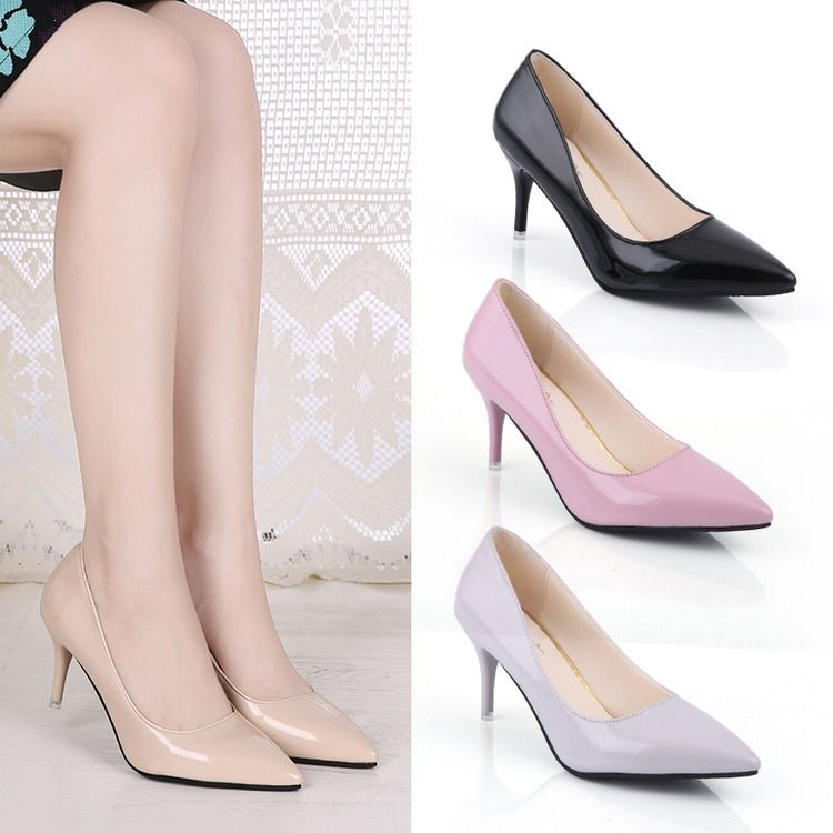 2017Women Pumps Fashion Sexy Pointed Toe Sweet Colorful Thin High Heels Woman Shoes Nude Women's high-heeled shoes, single shoes