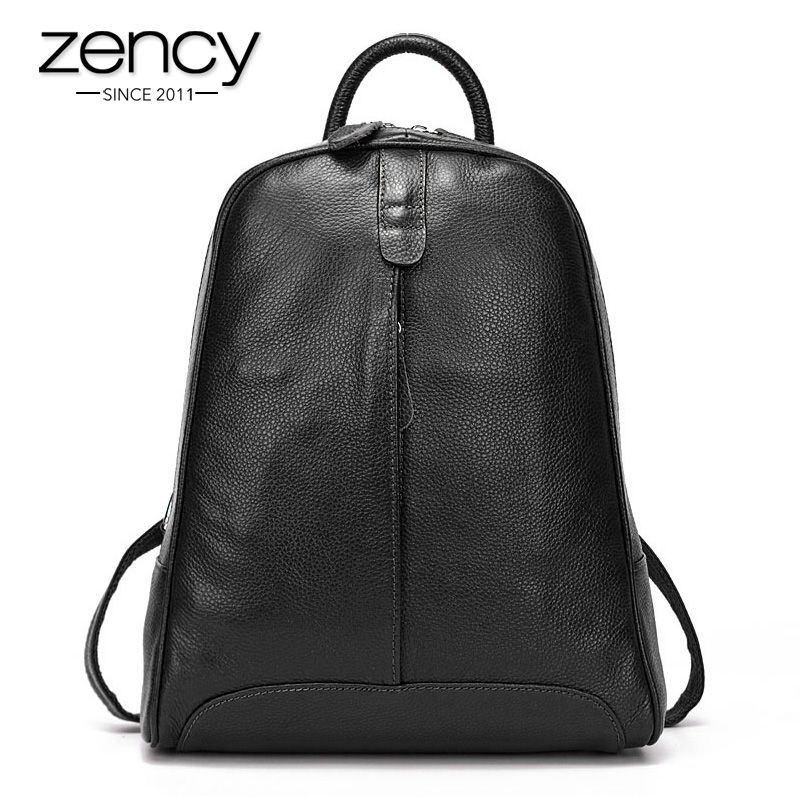 Zency 100% Genuine Leather Fashion Women Backpack Casual Travel Bag Preppy Style Girl's Schoolbag Notebook Laptop Knapsack