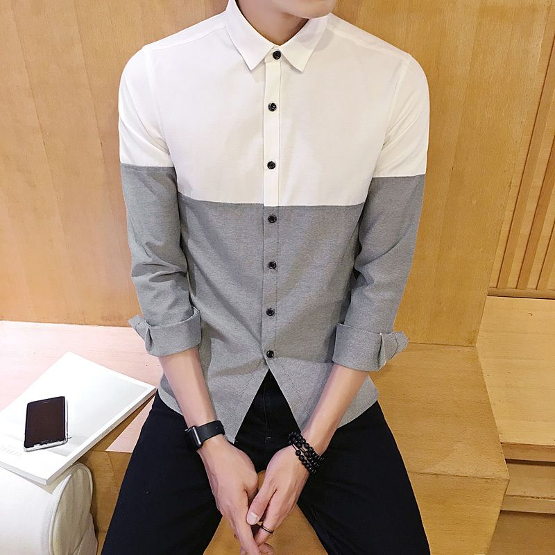2018 Spring Fashion Youth Style New Small Fresh Casual Wild Men's Long-sleeved Line Stitching Young People Slim Shirt
