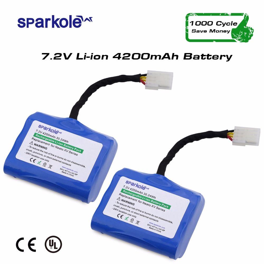 Sparkole 4200mAh Lithium battery for Neato XV-11 XV-12 XV-14 XV-15 XV-25 XV Signature Pro Robotic Vacuum Cleaner 2Pack
