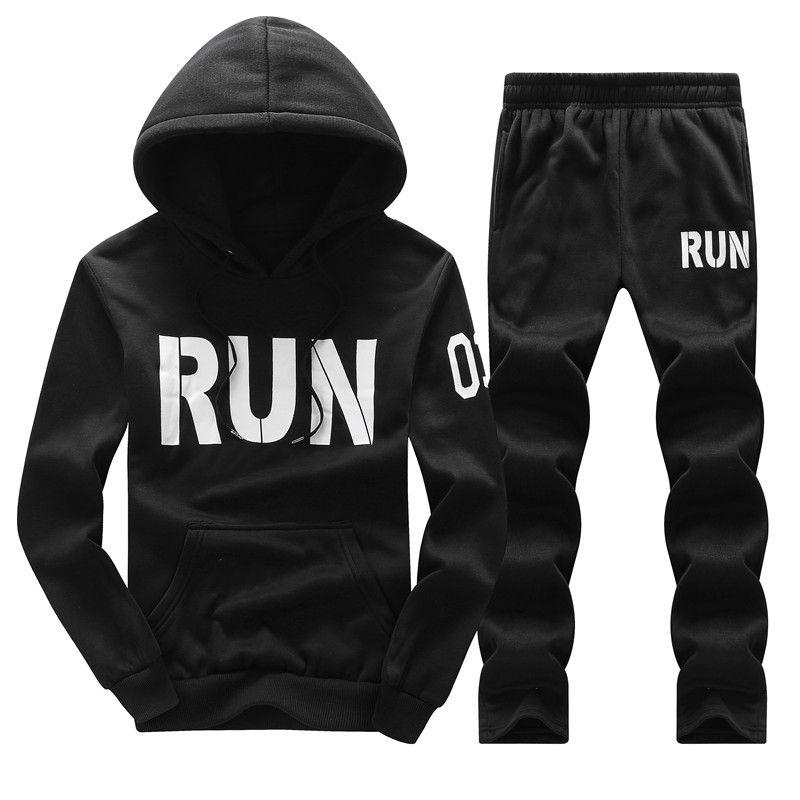 Tracksuit Men Hoodies Men Winter Fleece Tracksuits Print Sportswear 2PC Jackets + Pants Sudaderas Hombre Men's Clothing D31