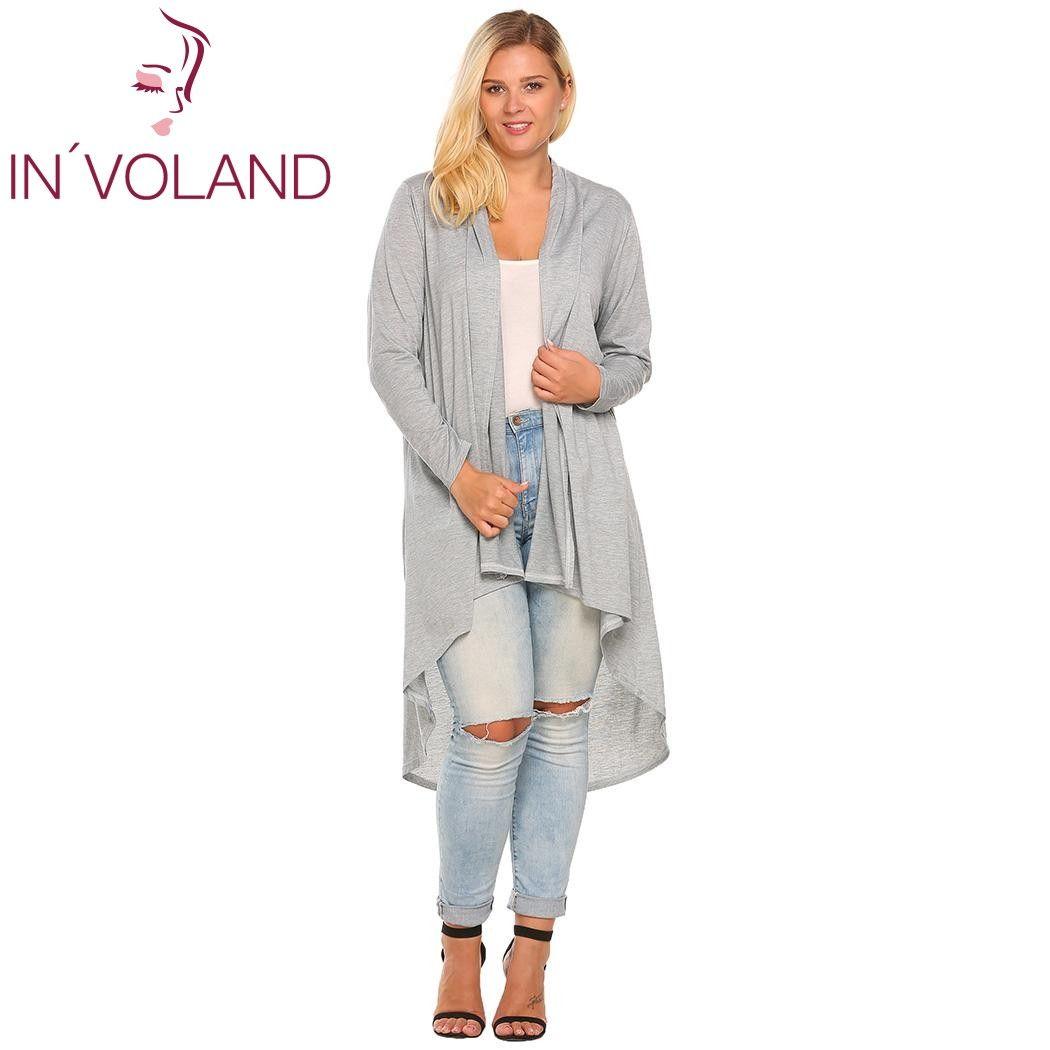 IN'VOLAND Women's Cardigan Jacket Oversized Autumn Casual Long Sleeve Open Front Draped Irregular Long Coat Sweater Plus Size