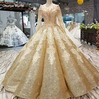 LS30554 shiny golden curve shape evening dress special o-neck long tulle sleeve floor length ball gown bling evening party dress