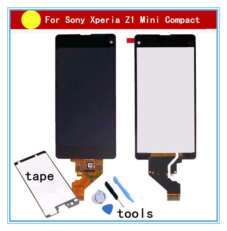For Sony Z1 Compact Mini D5503 M51W z1mini LCD display Touch screen Digitizer Assembly+glue+tools