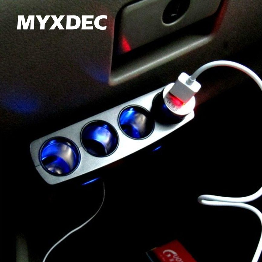 Auto Car Cigarette Lighter Socket Charger 12V / 24V 4 Way Splitter Charger Plug Power Adapter For iphone/samsung