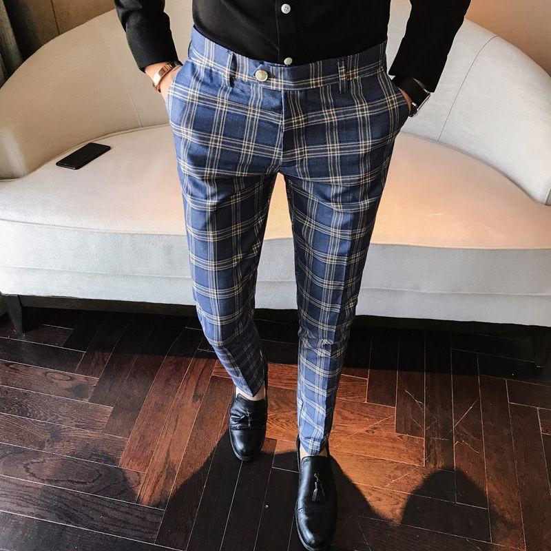Men Dress Pant Plaid Business Casual Slim Fit <font><b>Pantalon</b></font> A Carreau Homme Classic Vintage Check Suit Trousers Wedding Pants