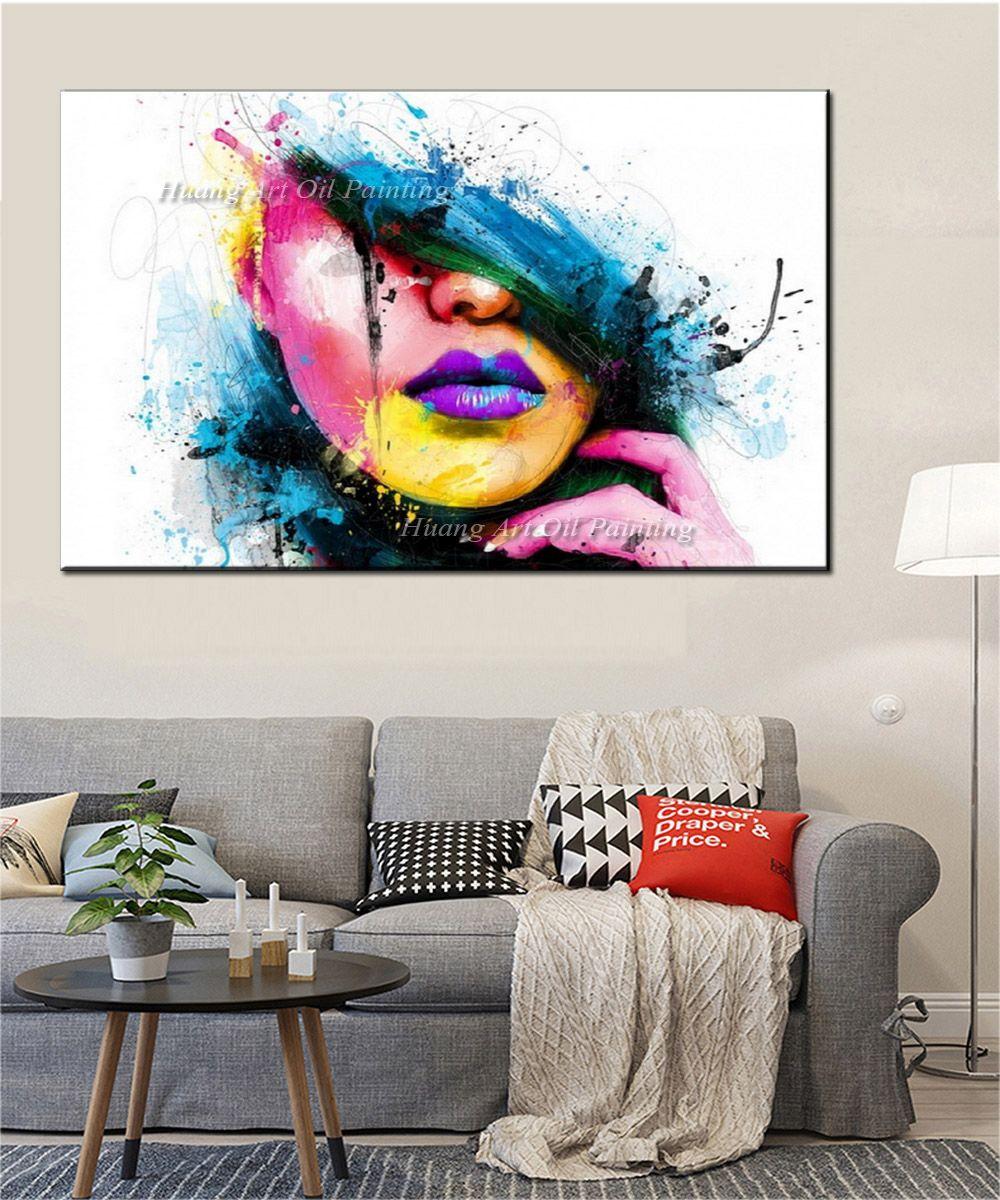 Wall Art Для Крупных Стены Мода Холст для Живописи Женское Лицо Картина Абстрактные Фигуры Маслом Для Декора Комнаты