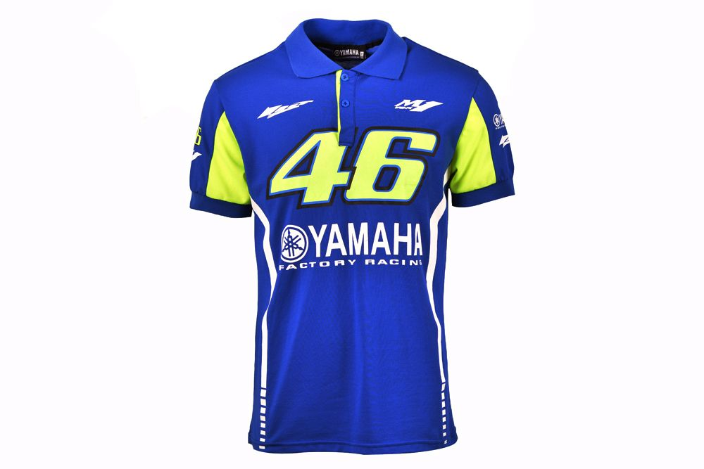 2017 Valentino Rossi VR46 MotoGP for Yamaha Polo Shirt Men's Motorcycle Racing Blue T-SHIRT