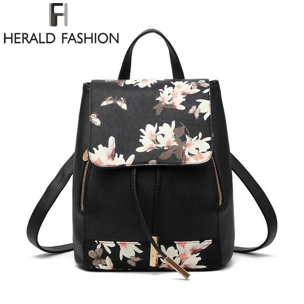 Herald Fashion Preppy Style School Backpack Artificial Leather Women Shoulder Bag Floral School Bag for Teens Girls