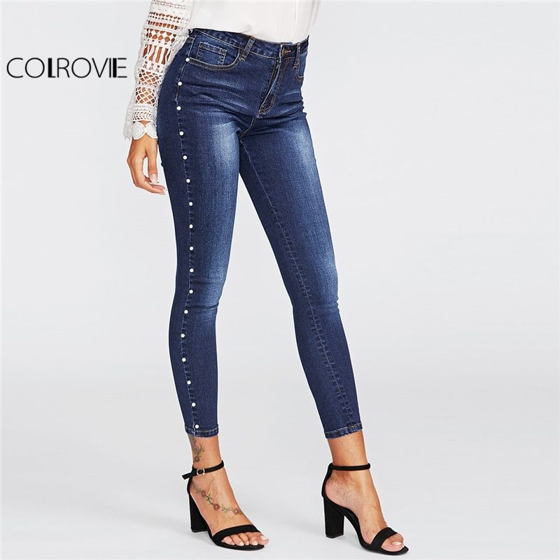 COLROVIE 2018 Spring Skinny Pearl Beading Faded Wash Jeans Blue Mid Waist Zipper Fly Plain Denim Jeans Women Casual Trousers