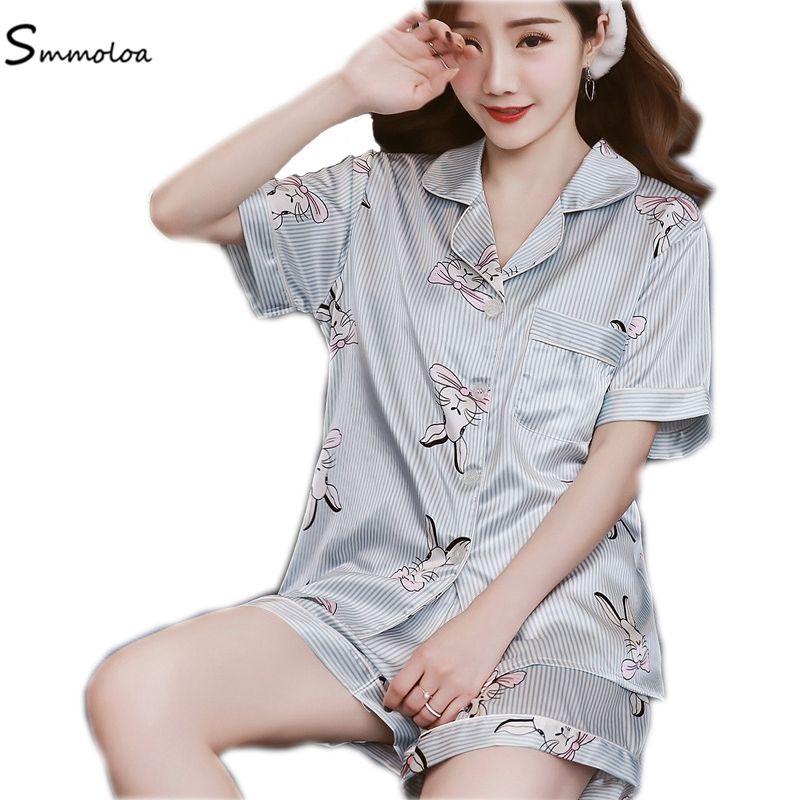 Smmoloa Short Sleeve Silk Pajamas Set Two Pieces Set Women Sleepwear Sexy Nightwear Women Pijama