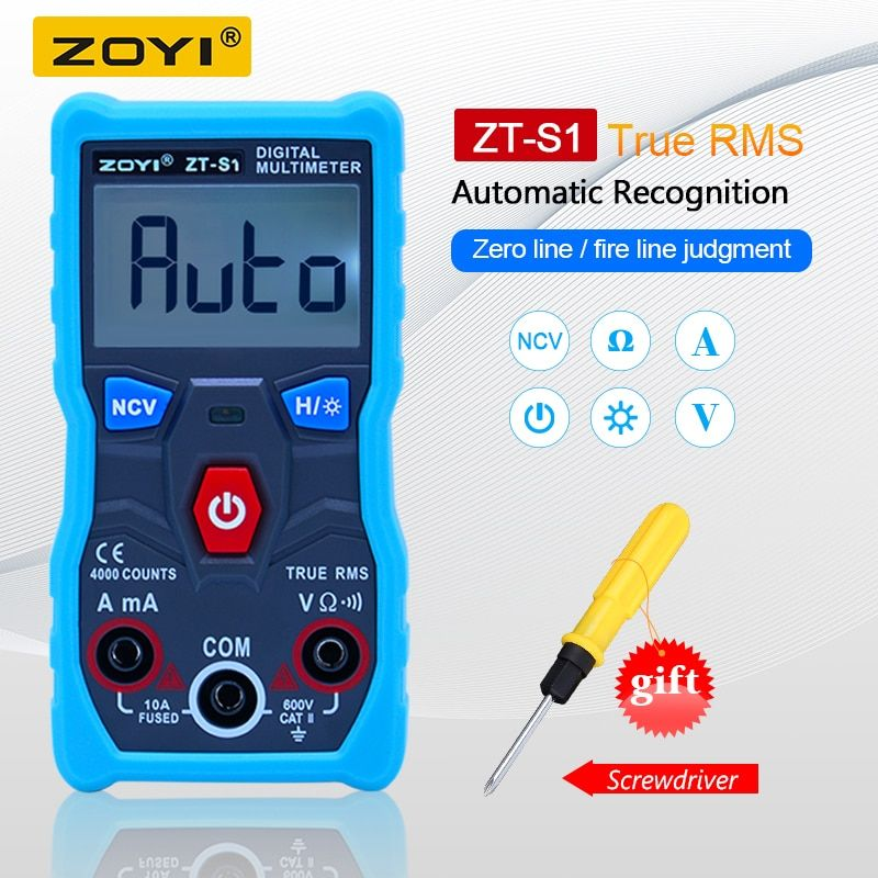 ZOYI ZT-S1 Digital Multimeter tester autoranging True rms automotriz Mmultimetro with NCV DATA HOLD LCD backlight+Flashlight