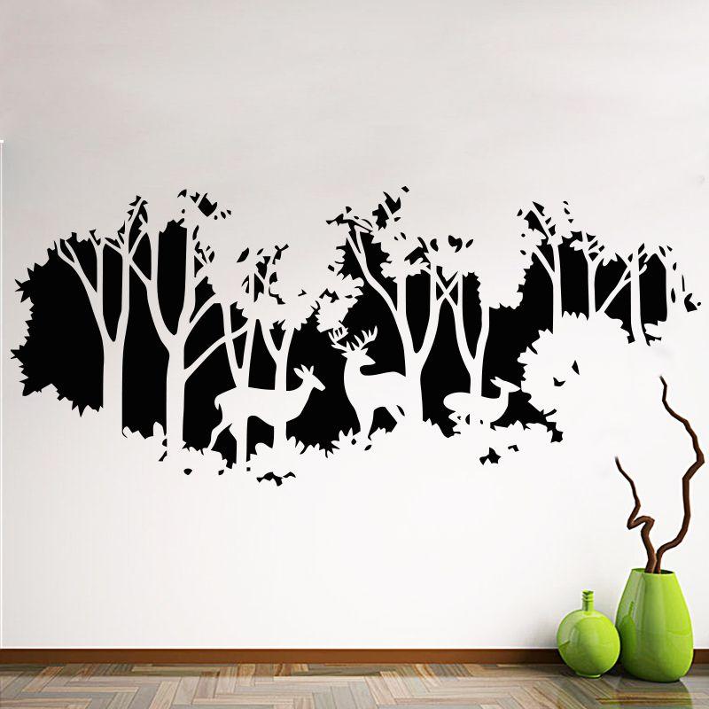 Art Nouveau Design maison décoration Vinyle cerfs en forêt sticker mural amovible pas cher PVC maison décor arbres et stickers animaux